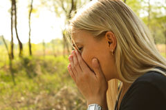 Woman allergy sneeze Stock Photography