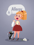 Woman with allergy symptom blowing nose. Vector illustration Royalty Free Stock Image