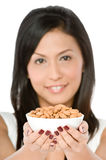 Woman with Almonds Stock Photos