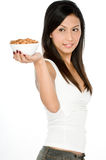 Woman with Almonds Stock Photo