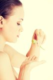 Woman with aloe vera Royalty Free Stock Image