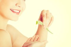 Woman with aloe vera Stock Images