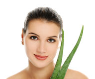 Woman with aloe vera Royalty Free Stock Images