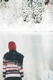 Woman alone in winter forest and lake Stock Image