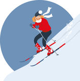 Woman alpine skiing Stock Photography