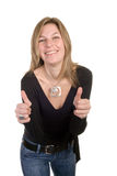 Woman is alright. Beautiful blond woman making ok gesture on white background royalty free stock image