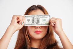 Woman with american dollars Stock Photo