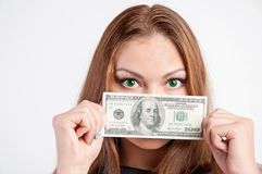 Woman with american dollars Royalty Free Stock Photo