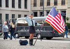 Woman American Flag Royalty Free Stock Images