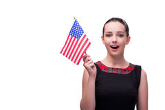 The woman with american flag isolated on white Royalty Free Stock Photos