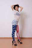 Woman in American flag pants Royalty Free Stock Photography