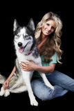Woman With American Husky Royalty Free Stock Photography