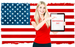 Woman with american national flag. Independence Day. Patriotic c Stock Photography
