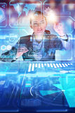 The woman analyst working with big data. Woman analyst working with big data Stock Image