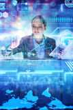 The woman analyst working with big data. Woman analyst working with big data royalty free stock photos