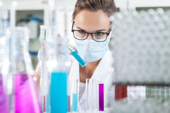 Woman analyzing liquid in test tube Stock Photography