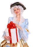 Woman in ancient dress  with gift box. Woman in ancient dress of marquise with gift box Stock Photography