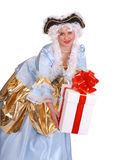 Woman in ancient dress with gift box Stock Photos