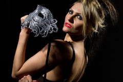 Woman with ancient style mask Stock Images