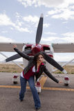 Woman And Airplane Stock Image