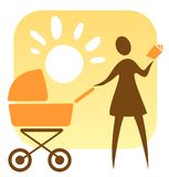 Woman And Baby Carriage Royalty Free Stock Image