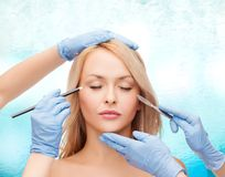 Free Woman And Beautician Hands With Pencil And Scalpel Royalty Free Stock Photos - 39809028