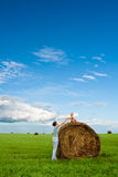 Woman And Boy In The Field Stock Photos