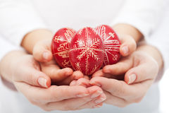 Free Woman And Child Hands Holding Easter Eggs Stock Photo - 29583380