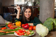 Woman And Different Vegetables Stock Images