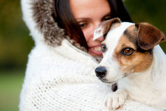 Woman And Dog Portrait Stock Photo