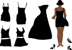 Woman And Dress Silhouettes Stock Images