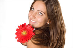 Woman And Flower Royalty Free Stock Photos
