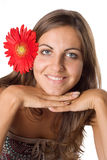 Woman And Flower Stock Images