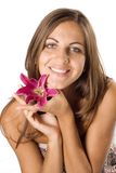 Woman And Flower Stock Image
