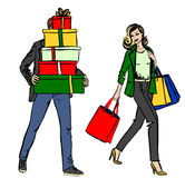 Woman And Man With Shopping Bag Stock Photo
