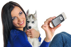 Woman And Puppy Photo Stock Image
