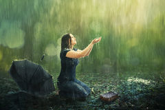 Free Woman And Rain Shower Royalty Free Stock Photo - 72765785