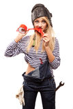 Woman And Red Scotch Tape Stock Photography