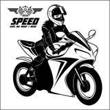 Woman And Sport Motorbike - Monochrome Vector Illustration. Stock Image