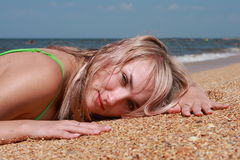 Woman And The Sea Royalty Free Stock Photography