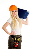 Woman And Tool Box Royalty Free Stock Photos