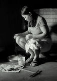 Woman And Yarn Stock Images