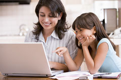 Free Woman And Young Girl In Kitchen With Laptop Stock Image - 5931121