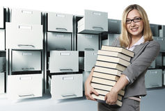 Woman anf files Stock Photo
