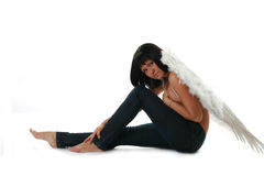 Woman angel. On withe background Royalty Free Stock Images