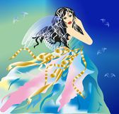 Woman angel. Composition of the woman with black hair and gauzy dress royalty free illustration