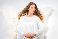 Woman in angel costume Royalty Free Stock Photography