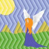 Woman angel on mosaic background Stock Photo