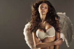Woman angel with sexy big lips Royalty Free Stock Photo