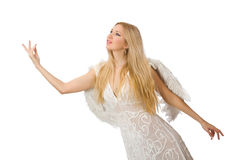 Woman with angel wings isolated Royalty Free Stock Photos